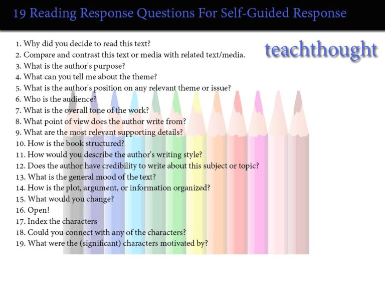 Self-Guided Reading Response Questions